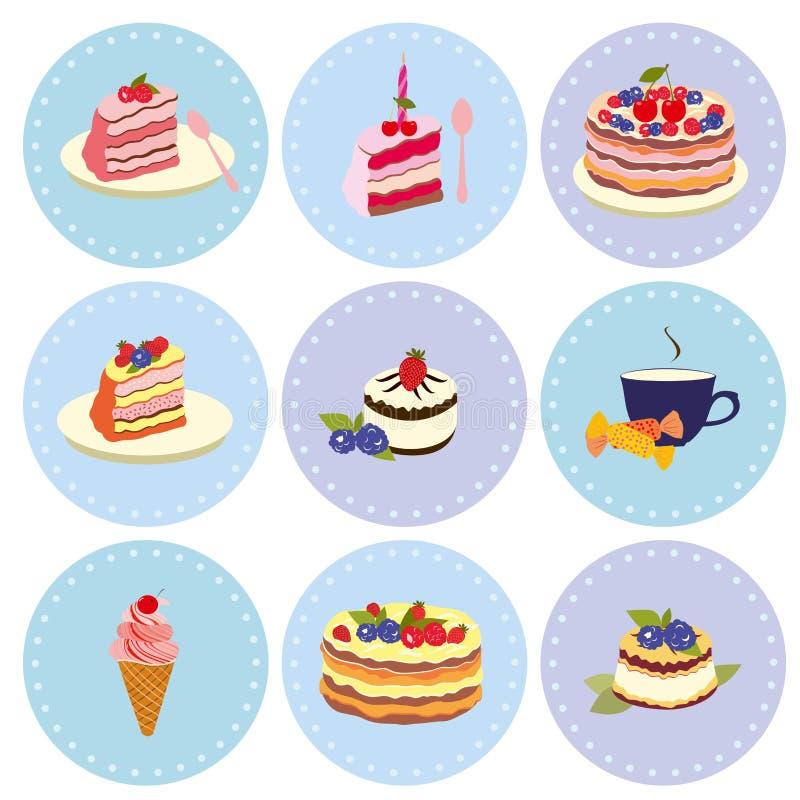 Σύνολο γλυκών επιδορπίων, ζύμη, σοκολάτα, κέικ, cupcake, παγωτό διανυσματική απεικόνιση