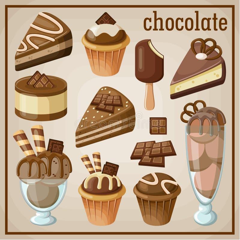 Σύνολο γλυκών και σοκολάτας απεικόνιση αποθεμάτων