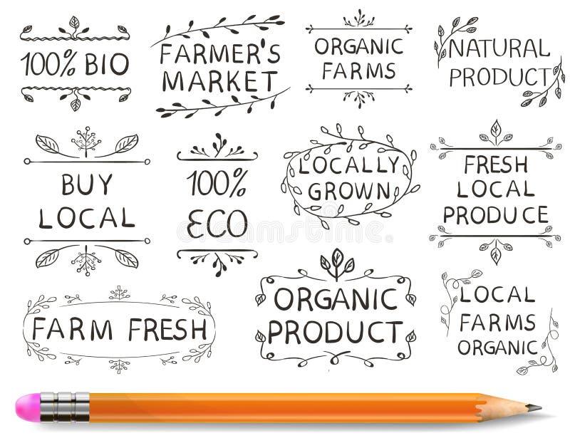Σύνολο ΔΙΑΝΥΣΜΑΤΙΚΩΝ τυπογραφικών στοιχείων Η αγορά αγροτών, καλλιεργεί τα φρέσκα τρόφιμα eco Hand-drawn σύνολο στο άσπρο υπόβαθρ διανυσματική απεικόνιση