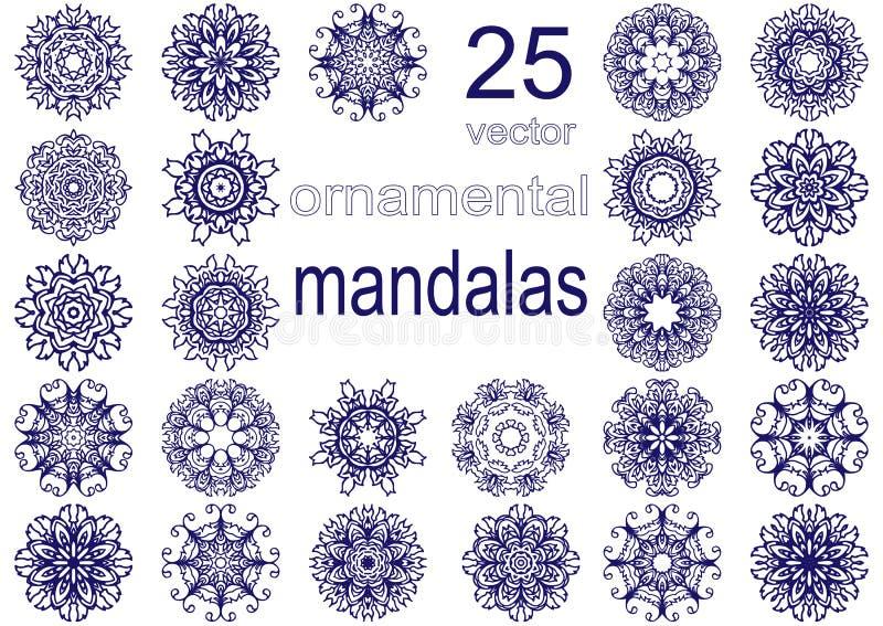 Σύνολο είκοσι πέντε mandalas στοκ φωτογραφία με δικαίωμα ελεύθερης χρήσης