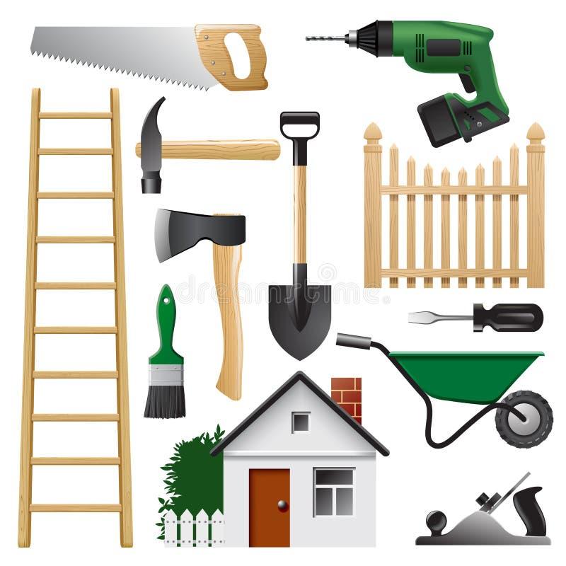 Σύνολο εγχώριων εργαλείων για τη διαδικασία κατασκευής και επισκευής στο W απεικόνιση αποθεμάτων