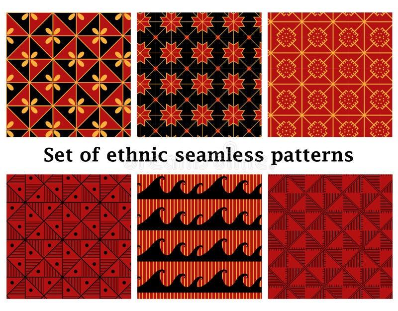 Σύνολο εθνικών γεωμετρικών άνευ ραφής σχεδίων διανυσματική απεικόνιση