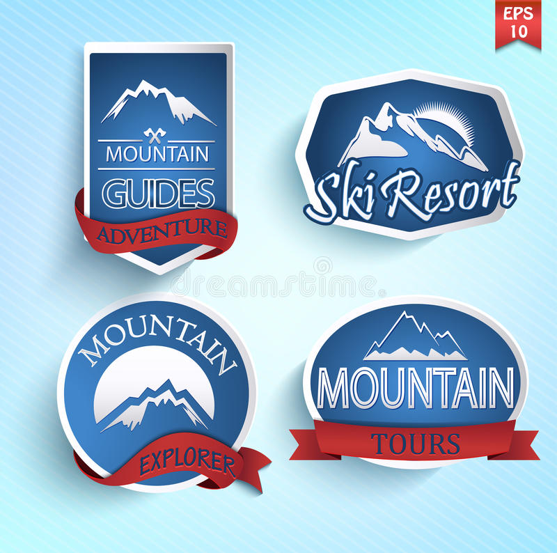 Σύνολο εικονιδίου βουνών απεικόνιση αποθεμάτων