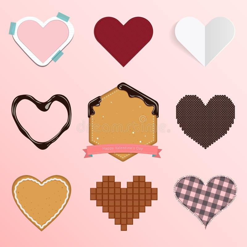 Σύνολο εικονιδίου καρδιών στο επίπεδο σχέδιο για τη διακόσμηση ημέρας ή γάμου του βαλεντίνου ελεύθερη απεικόνιση δικαιώματος