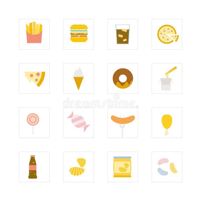 Σύνολο εικονιδίων άχρηστου φαγητού. ελεύθερη απεικόνιση δικαιώματος