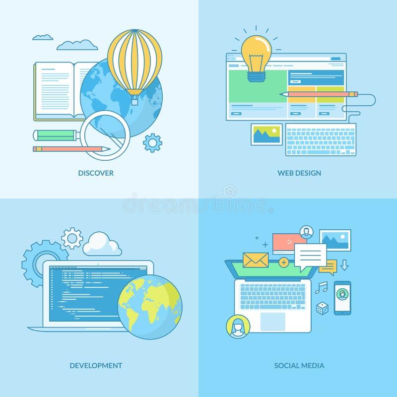 Σύνολο εικονιδίων έννοιας γραμμών για την ανάπτυξη Ιστού και τα κοινωνικά μέσα διανυσματική απεικόνιση