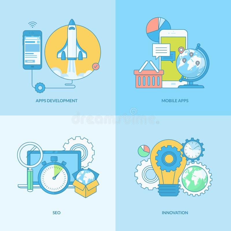 Σύνολο εικονιδίων έννοιας γραμμών για την κινητή ανάπτυξη apps ελεύθερη απεικόνιση δικαιώματος