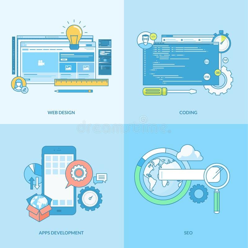 Σύνολο εικονιδίων έννοιας γραμμών για τον ιστοχώρο και app την ανάπτυξη ελεύθερη απεικόνιση δικαιώματος