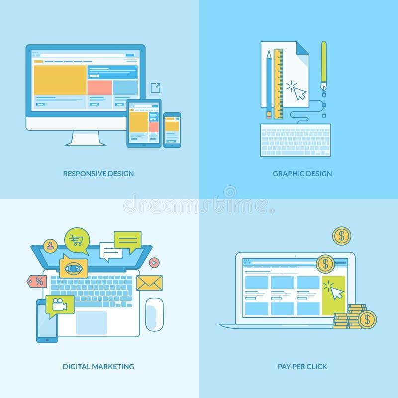 Σύνολο εικονιδίων έννοιας γραμμών για τον Ιστό και το γραφικό σχέδιο, μάρκετινγκ Διαδικτύου διανυσματική απεικόνιση