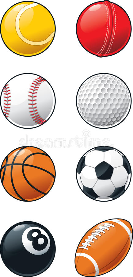 Σύνολο εικονιδίων αθλητικών σφαιρών απεικόνιση αποθεμάτων