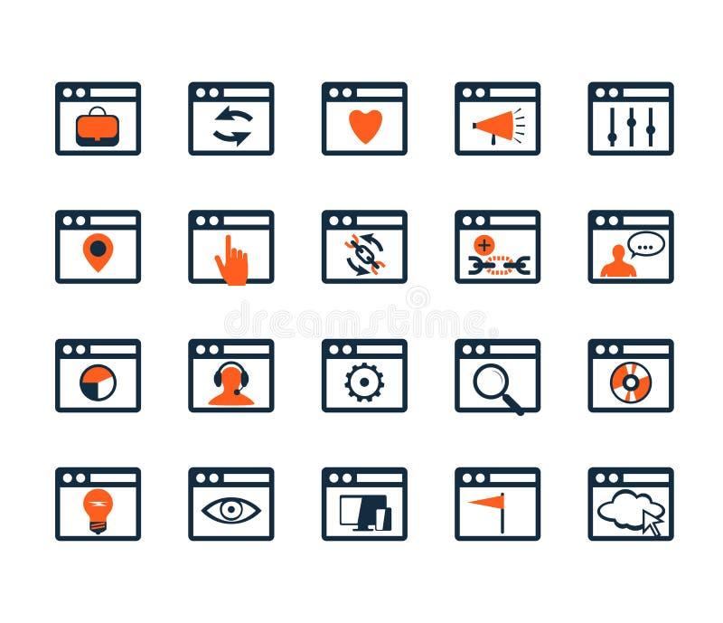 Σύνολο εικονιδίων Ανάπτυξη Ιστού και SEO Επίπεδο σχέδιο απεικόνιση αποθεμάτων