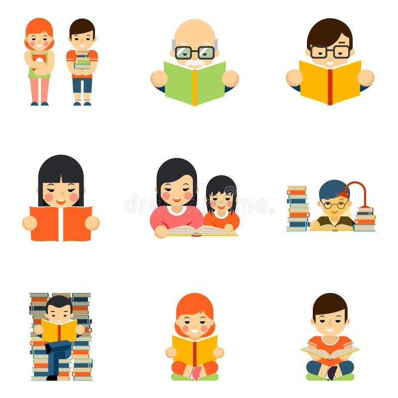 Σύνολο εικονιδίων ανθρώπων που διαβάζουν το βιβλίο στο επίπεδο ύφος ελεύθερη απεικόνιση δικαιώματος