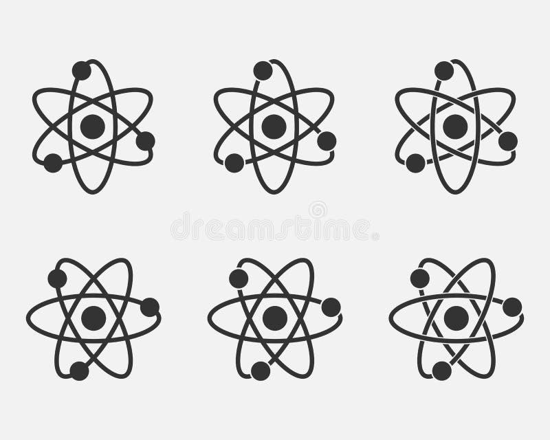 Σύνολο εικονιδίων ατόμων Πυρηνικό εικονίδιο Ηλεκτρόνια και πρωτόνια Σημάδι επιστήμης Εικονίδιο μορίων στο γκρίζο υπόβαθρο επίσης  ελεύθερη απεικόνιση δικαιώματος