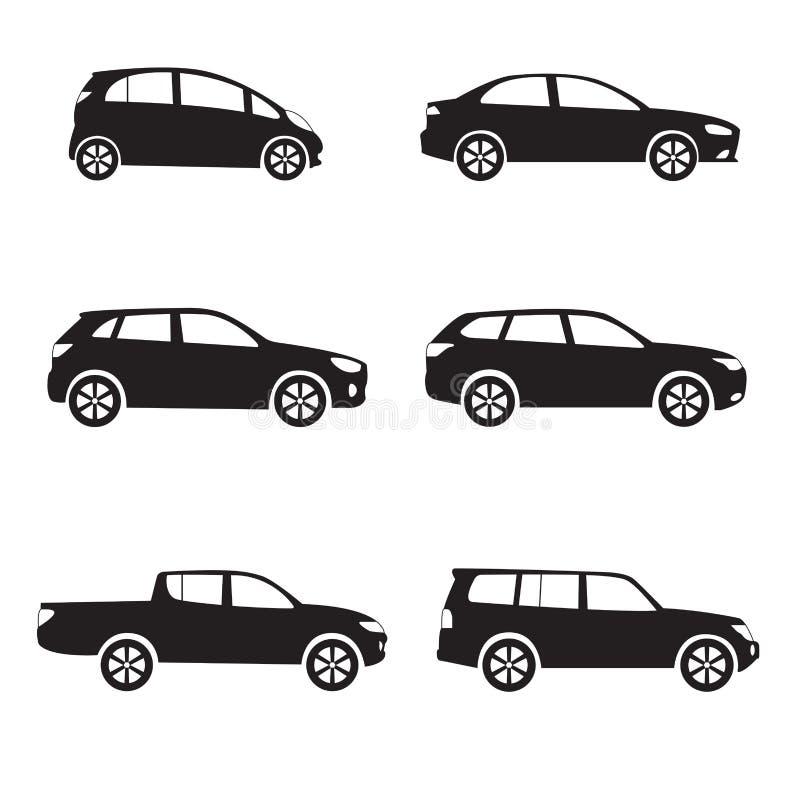 Σύνολο εικονιδίων αυτοκινήτων ή οχημάτων Διαφορετική διανυσματική μορφή αυτοκινήτων στοκ εικόνες