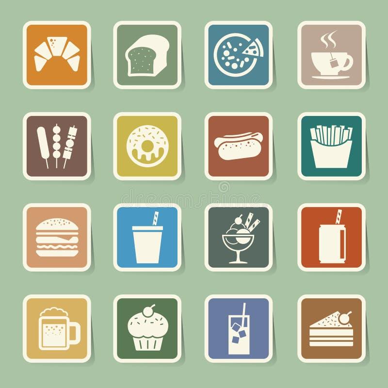 Σύνολο εικονιδίων αυτοκόλλητων ετικεττών γρήγορου φαγητού ελεύθερη απεικόνιση δικαιώματος