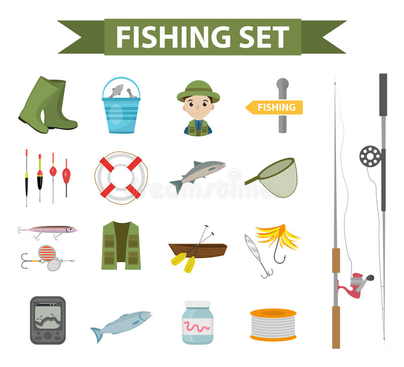 Σύνολο εικονιδίων αλιείας, επίπεδος, ύφος κινούμενων σχεδίων Αντικείμενα συλλογής αλιείας, στοιχεία σχεδίου, που απομονώνονται στ διανυσματική απεικόνιση