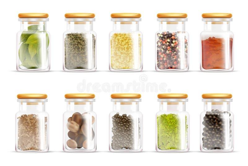 Σύνολο εικονιδίων βάζων καρυκευμάτων χορταριών απεικόνιση αποθεμάτων