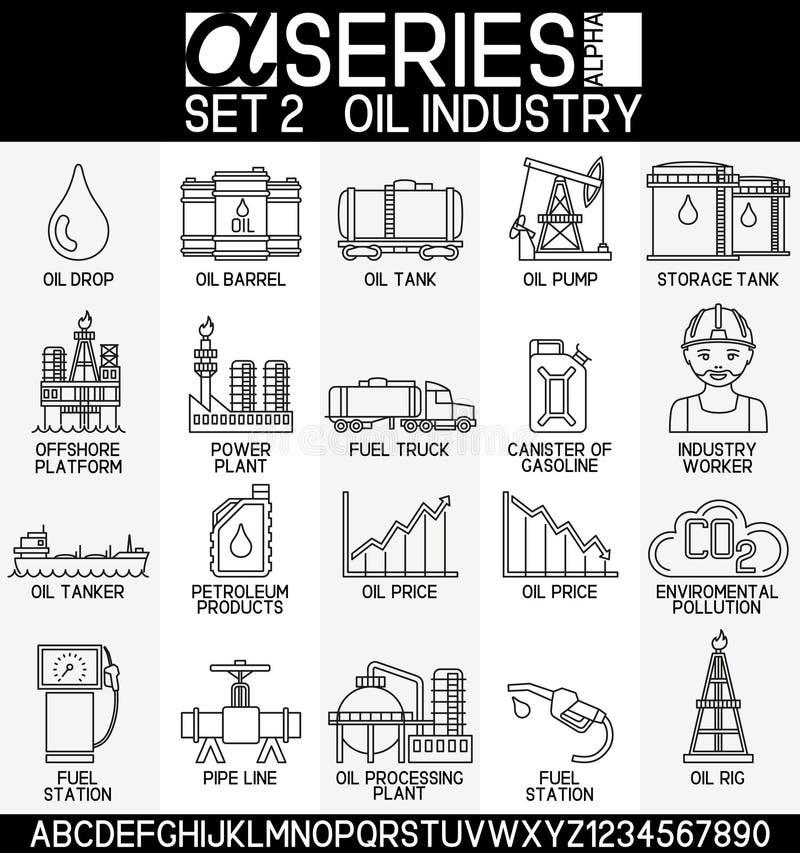 Σύνολο εικονιδίων βιομηχανίας πετρελαίου απεικόνιση αποθεμάτων