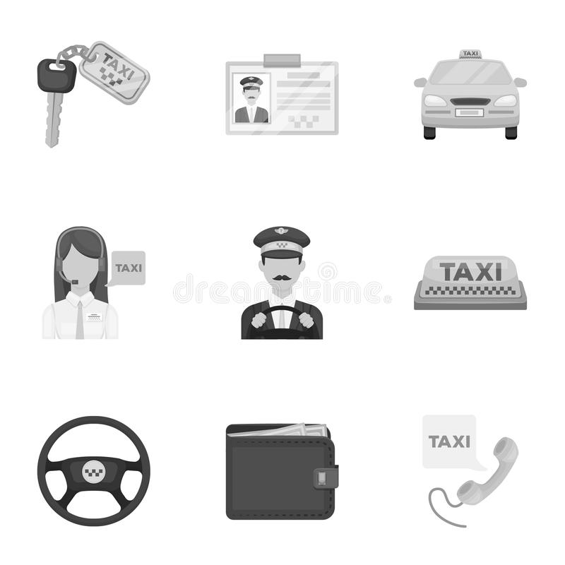 Σύνολο εικονιδίων για το ταξί Ένας ταξιτζής κλήσης, στάθμευση Μεταφορά γύρω από την πόλη Εικονίδιο ταξί στην καθορισμένη συλλογή  διανυσματική απεικόνιση