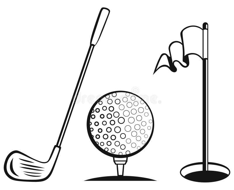Σύνολο εικονιδίων γκολφ ελεύθερη απεικόνιση δικαιώματος