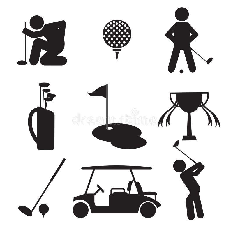 Σύνολο εικονιδίων γκολφ απεικόνιση αποθεμάτων