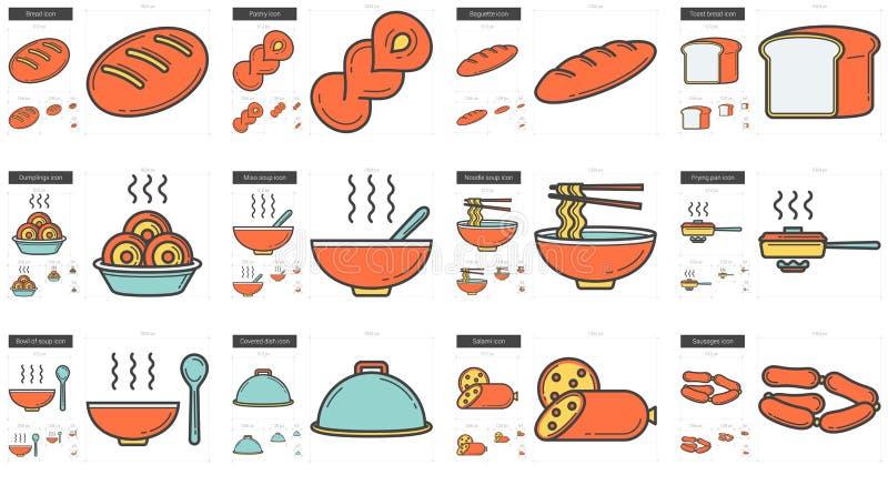 Σύνολο εικονιδίων γραμμών άχρηστου φαγητού απεικόνιση αποθεμάτων