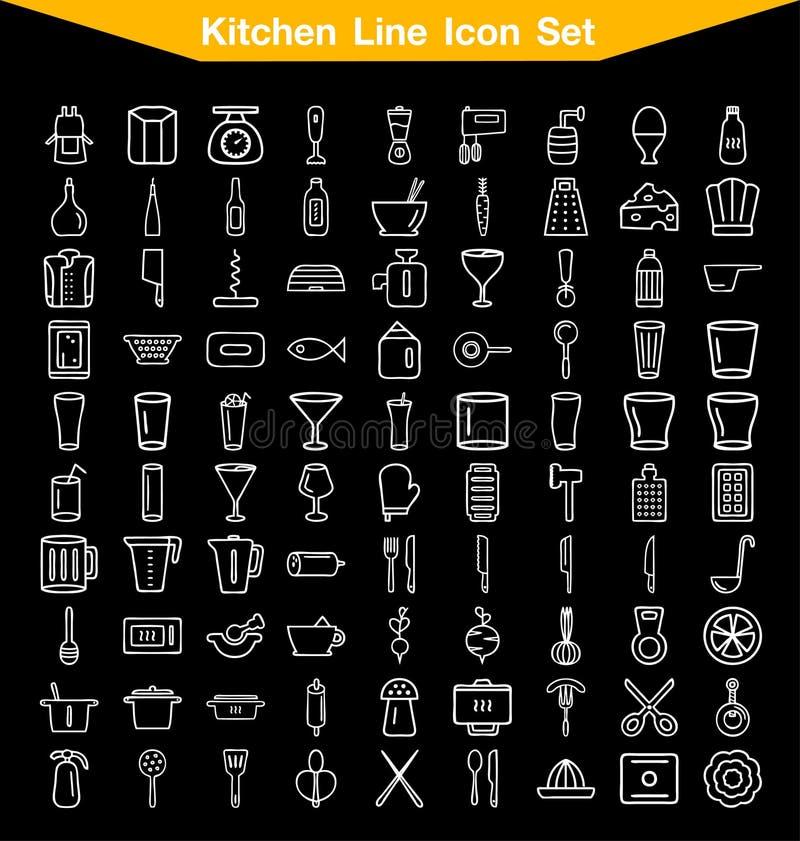 Σύνολο εικονιδίων γραμμών κουζινών στοκ φωτογραφία