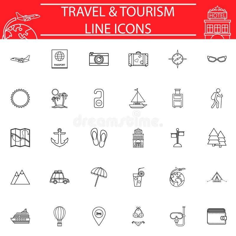 Σύνολο εικονιδίων γραμμών ταξιδιού, συλλογή συμβόλων ταξιδιού διανυσματική απεικόνιση
