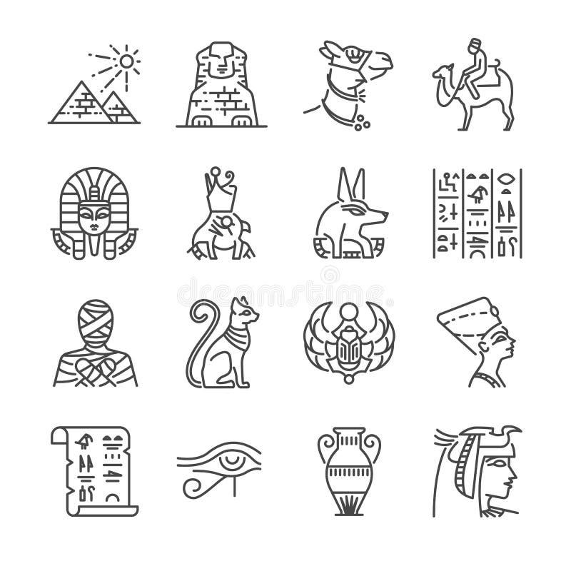 Σύνολο εικονιδίων γραμμών της Αιγύπτου Περιέλαβε τα εικονίδια ως Pharaoh, πυραμίδα, μούμια, Anubis, καμήλα και περισσότερους ελεύθερη απεικόνιση δικαιώματος