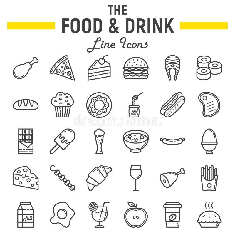 Σύνολο εικονιδίων γραμμών τροφίμων και ποτών, συλλογή σημαδιών γεύματος διανυσματική απεικόνιση