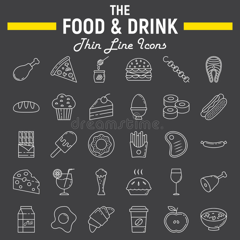 Σύνολο εικονιδίων γραμμών τροφίμων και ποτών, συλλογή σημαδιών γεύματος ελεύθερη απεικόνιση δικαιώματος