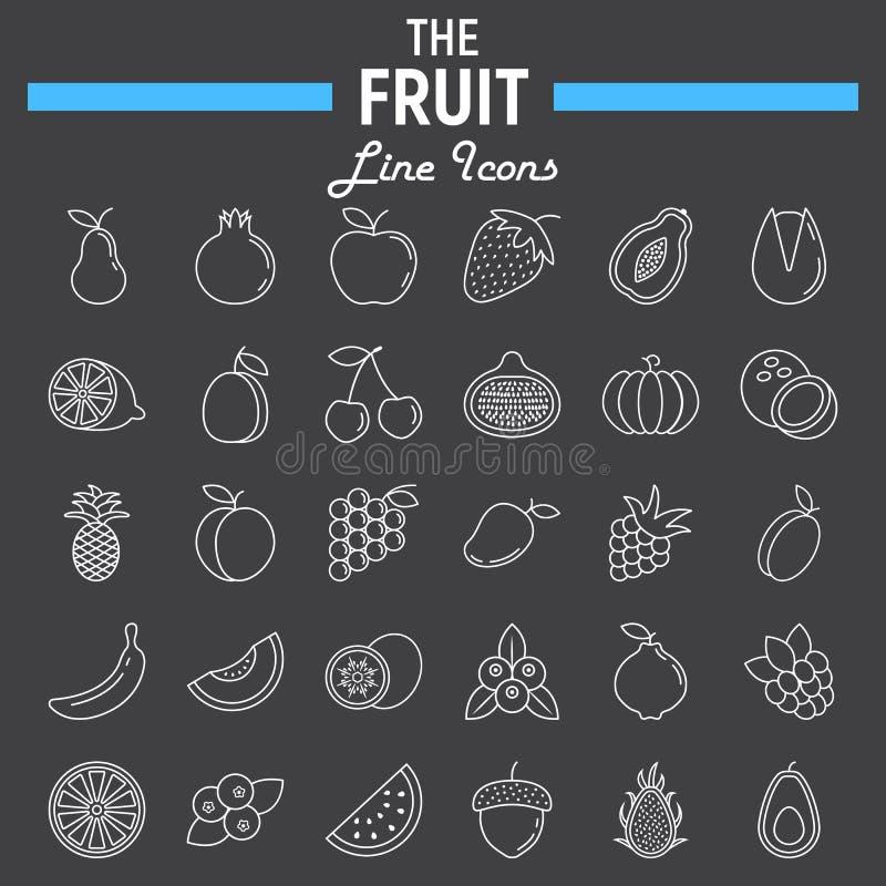 Σύνολο εικονιδίων γραμμών φρούτων, συλλογή συμβόλων τροφίμων διανυσματική απεικόνιση