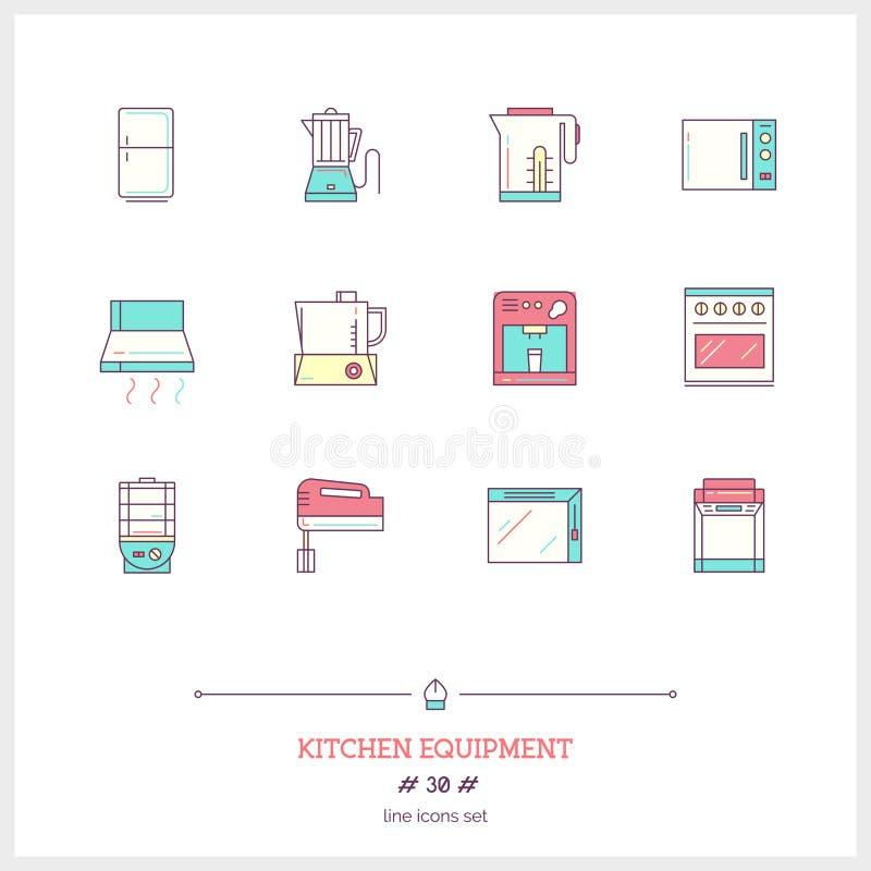 Σύνολο εικονιδίων γραμμών χρώματος αντικειμένων εξοπλισμών κουζινών, εργαλεία και ele διανυσματική απεικόνιση