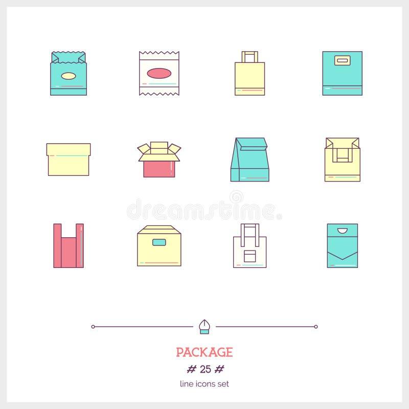 Σύνολο εικονιδίων γραμμών χρώματος κιβωτίων και αντικειμένων συσκευασίας, στοιχεία εργαλείων απεικόνιση αποθεμάτων