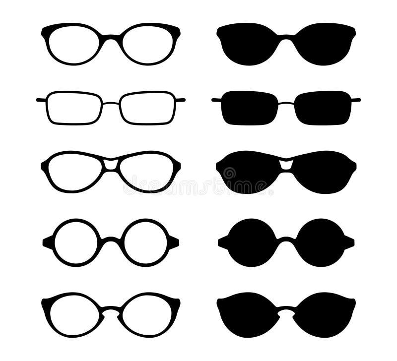 Σύνολο εικονιδίων γυαλιών ματιών και ήλιων επίσης corel σύρετε το διάνυσμα απεικόνισης διανυσματική απεικόνιση