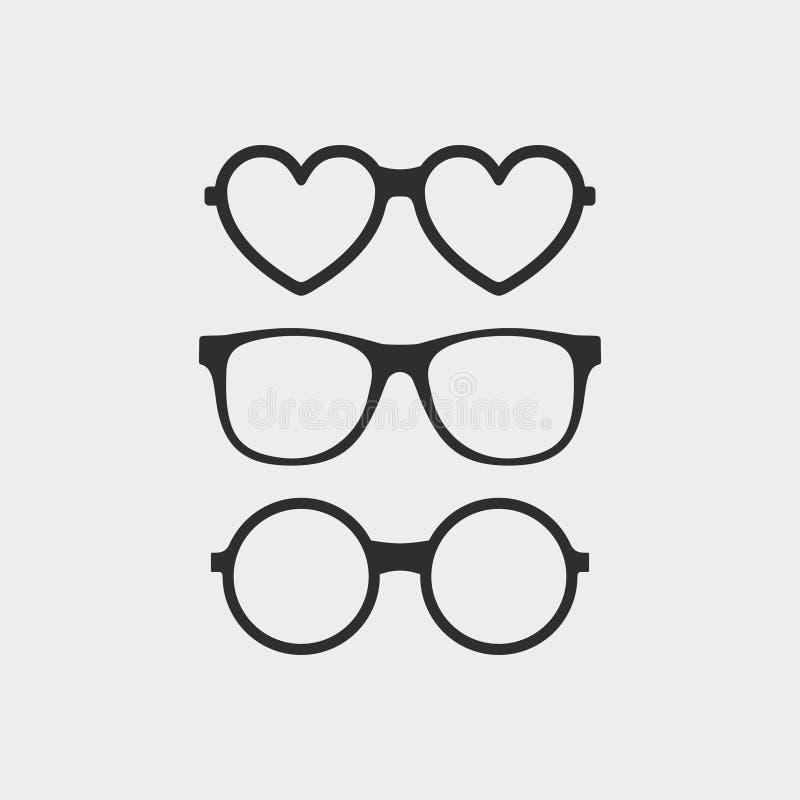 Σύνολο εικονιδίων γυαλιών συνήθειας Σύγχρονα γυαλιά μόδας στο επίπεδο ύφος Γυαλιά ηλίου Hipster που απομονώνονται στο γκρίζο υπόβ διανυσματική απεικόνιση
