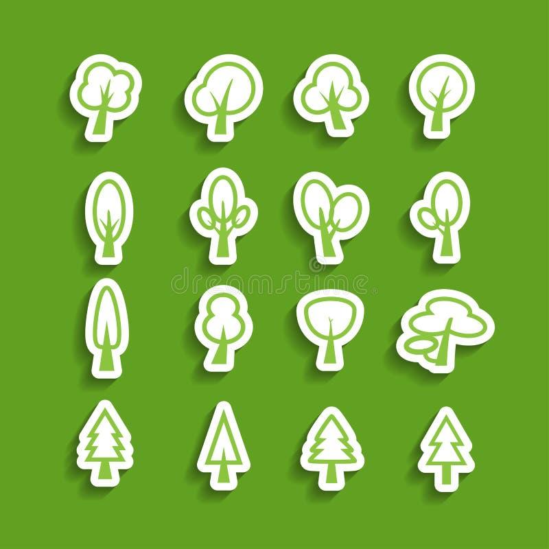 Σύνολο εικονιδίων εγγράφου δέντρων, διανυσματικό eps10 διανυσματική απεικόνιση