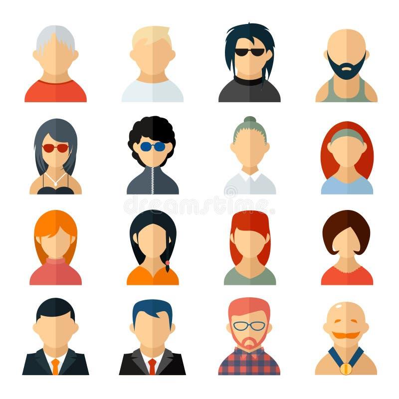 Σύνολο εικονιδίων ειδώλων χρηστών στο επίπεδο ύφος ελεύθερη απεικόνιση δικαιώματος