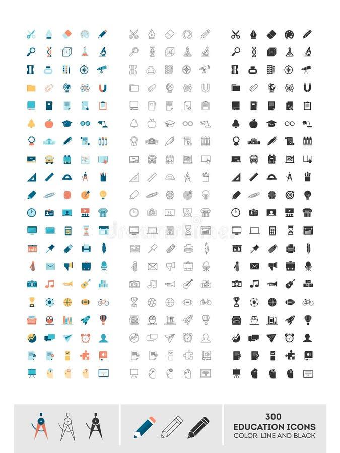 Σύνολο 300 εικονιδίων εκπαίδευσης που γίνονται στο χρώμα, τη γραμμή και το Μαύρο διανυσματική απεικόνιση