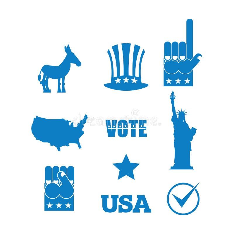 Σύνολο εικονιδίων εκλογής γαιδάρων δημοκρατών Σύμβολα των πολιτικών κομμάτων απεικόνιση αποθεμάτων