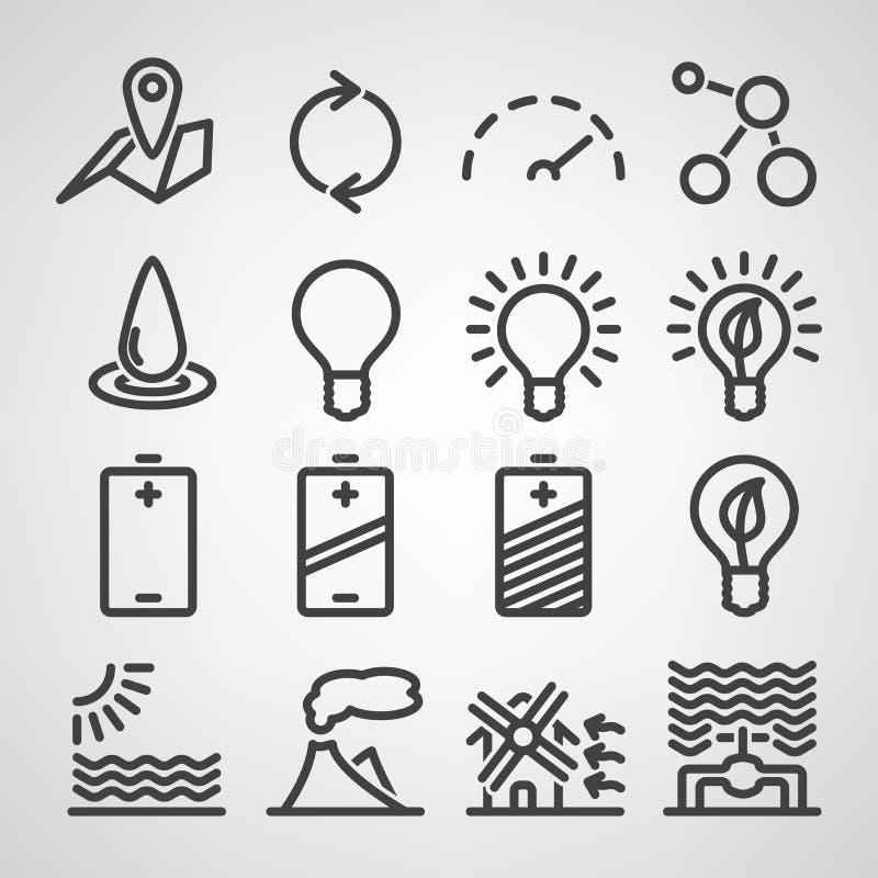 Σύνολο εικονιδίων ενέργειας και των πόρων ελεύθερη απεικόνιση δικαιώματος