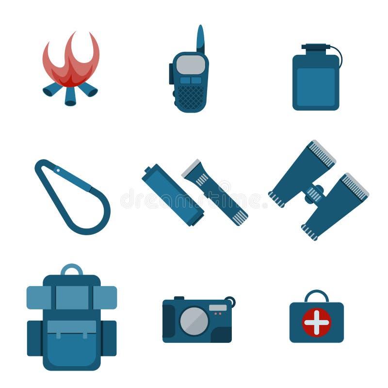 Σύνολο εικονιδίων εξοπλισμού στρατοπέδευσης απεικόνιση αποθεμάτων