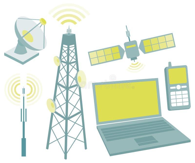 Σύνολο εικονιδίων εξοπλισμού τηλεπικοινωνιών διανυσματική απεικόνιση