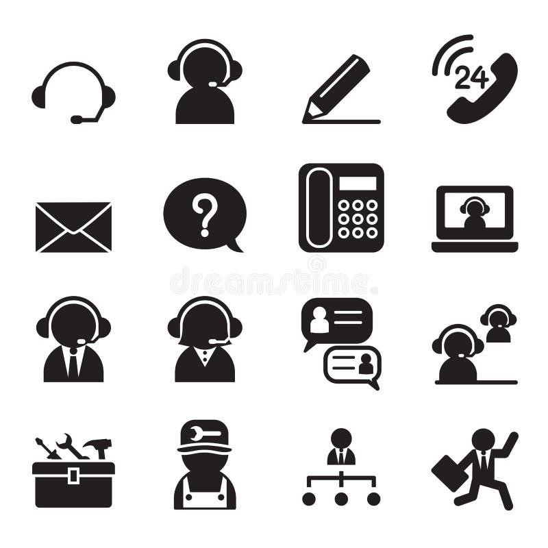 Σύνολο εικονιδίων εξυπηρέτησης πελατών και υποστήριξης ελεύθερη απεικόνιση δικαιώματος