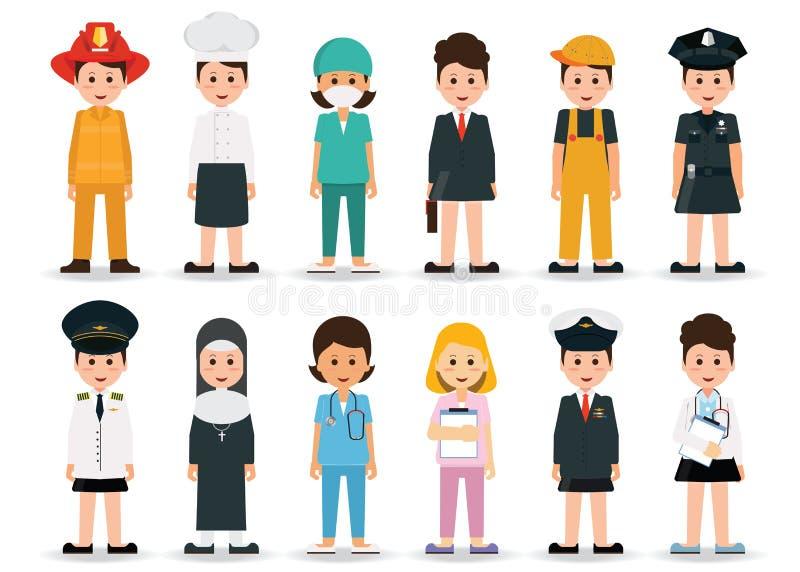 Σύνολο εικονιδίων επαγγελμάτων και επαγγελμάτων ανθρώπων ελεύθερη απεικόνιση δικαιώματος