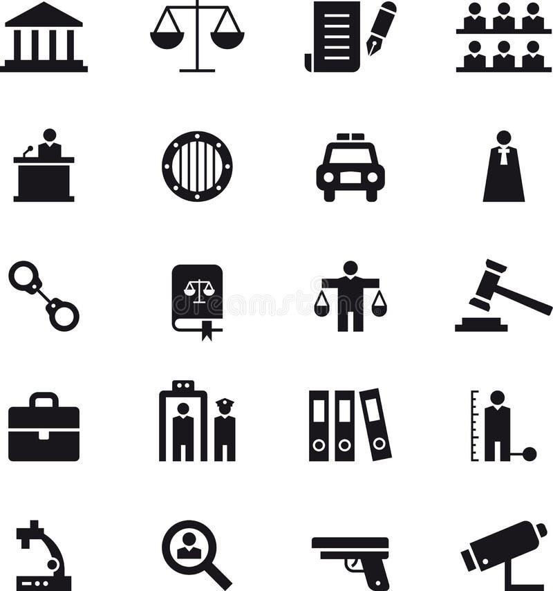 Σύνολο εικονιδίων επιβολής δικαιοσύνης και νόμου ελεύθερη απεικόνιση δικαιώματος
