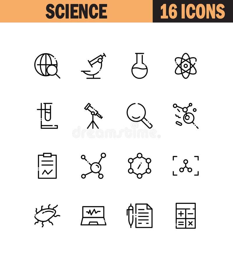 Σύνολο εικονιδίων επιστήμης διανυσματική απεικόνιση