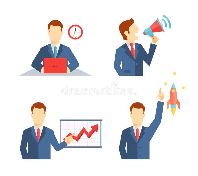 Σύνολο εικονιδίων επιχειρηματιών στο επίπεδο ύφος ελεύθερη απεικόνιση δικαιώματος