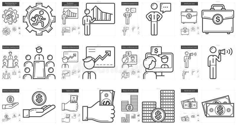 Σύνολο εικονιδίων επιχειρησιακών γραμμών ελεύθερη απεικόνιση δικαιώματος