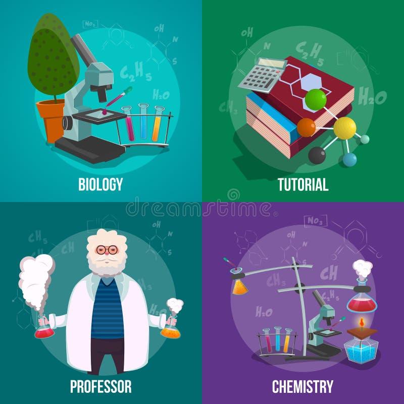 Σύνολο εικονιδίων εργαστηρίων χημείας απεικόνιση αποθεμάτων